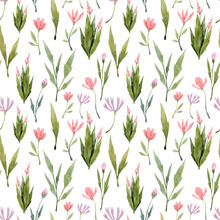 Seamless Pattern With Hand Painted Watercolor Florals