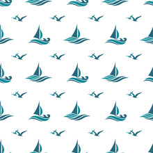 Yacht Seamless Pattern With Sea Waves Isolated On White Background