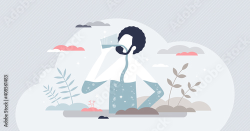 Fototapeta Drink water for health and thirst to keep body hydrated tiny person concept obraz