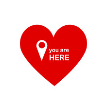 You Are Here With Heart. Love Pin
