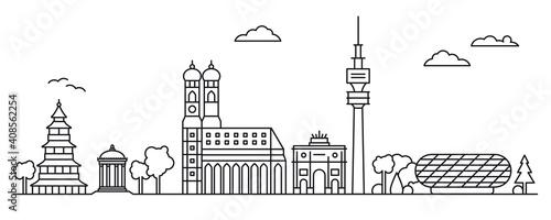Canvas Munich cityscape line art illustration