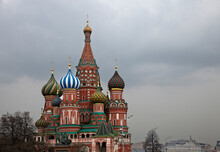 The Coloured Domes Of St Basils Cathedral, Moscow, Russia