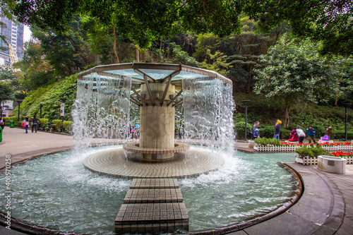 Fotografija Gazebo with water walls in public park Hong Kong