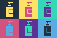Pop Art Bottle Of Shampoo Icon Isolated On Color Background. Vector.