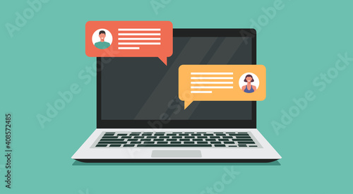 Obraz online chatting on laptop computer concept, people connecting together and work from anywhere, vector flat illustration - fototapety do salonu