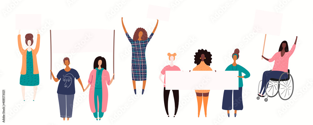 Fototapeta Diverse women group, woman in a wheelchair on a protest, holding different placards, banners with copy space. Hand drawn vector illustration, isolated on white. Flat style design. Concept for feminism