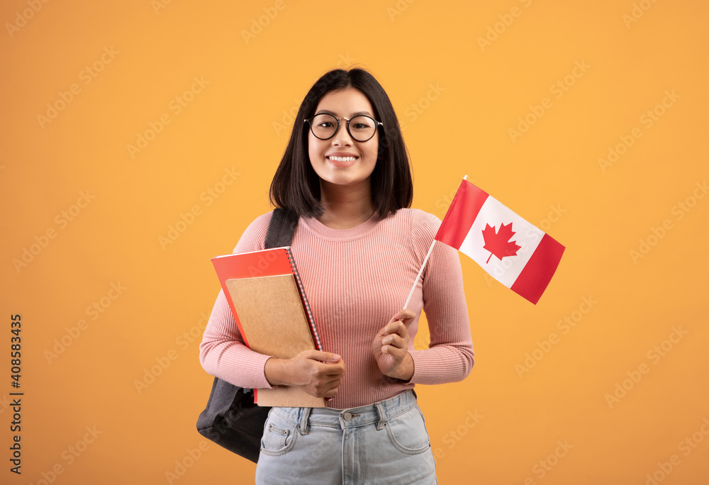 Fototapeta Travel, modern education and student exchange. Young cheerful asian woman in glasses with notebooks