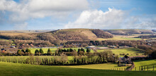 Panorama Of Battlebury Hill From West Wilts Golf Course In Warminster, Wiltshire, UK