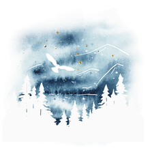 Watercolor Magic Vector Landscape In Blue, Golden And White Colors. Forest, Lake, Mountains And Owl Under Night Sky. Hand Drawn Illustration