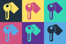 Pop Art Hotel Door Lock Key Icon Isolated On Color Background. Vector.
