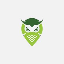 Vector Illustration Of A Logo Design Forming A Flying Owl.