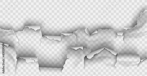 Canvas Print ragged Hole torn in ripped paper on transparent background