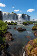 Picturesque scenic view of famous Iguazu Falls on border between Argentina and Brazil