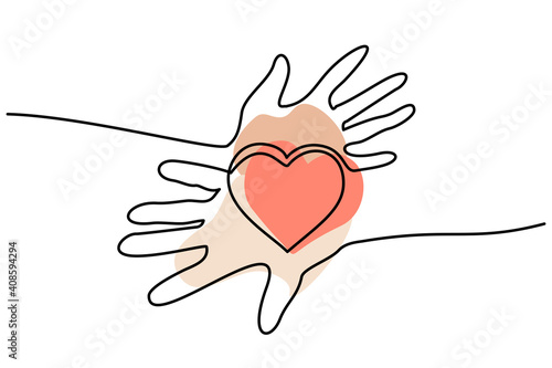 Hands woman and man holding heart. Valentines day card © Valenty