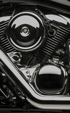 Close-up Of A Shiny Black Motorbike Engine