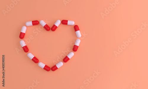 Heart shaped medicinal pills. Conceptual medical illustration. 3D render. #408598858