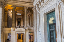 BRUSSELS, BELGIUM - DECEMBER 17, 2018: Entrance Of The Palais De Justice (Law Courts Of Brussels), Belgium