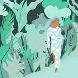 Ilustracja postać młoda kobieta w sukience w chmury na tle w motywy roślinne