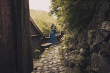 Footpath Amidst Trees And Buildings In Torshavn Faroe Islands