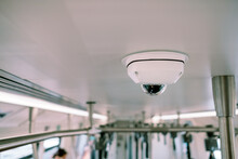 Low Angle View Of Surveillance Camera On Ceiling