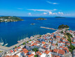 Aerial panoramic view over Chora town in Skiathos island, Sporades, Magnesia, Greece