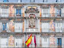Spanish Flag Against Plaza Mayor