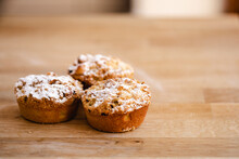 Three Mince Pies On A Kitchen Counter
