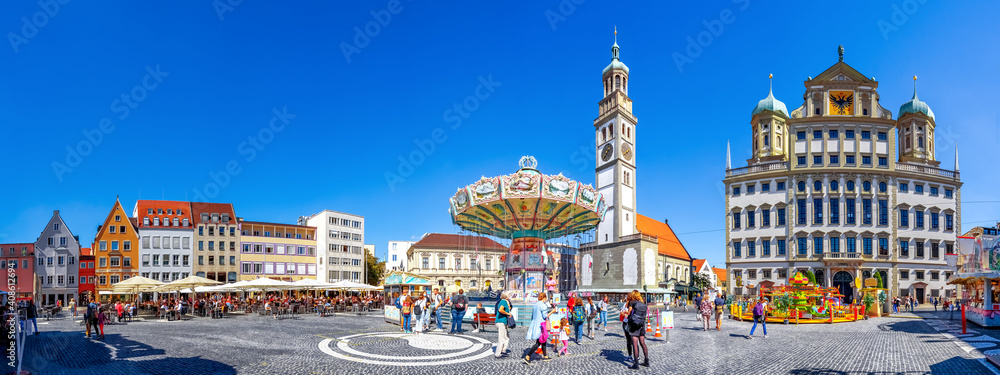 Fototapeta Perlachturm und Rathaus, Augsburg, Bayern, Deutschland