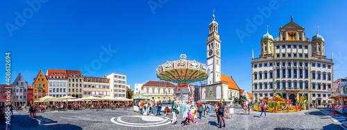 Fotografie, Obraz Perlachturm und Rathaus, Augsburg, Bayern, Deutschland