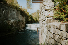 Close-up Of Stone Wall By River