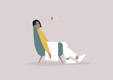 A Young Female Exhausted Character Sitting In A Chair With A Low Battery Indicator Above