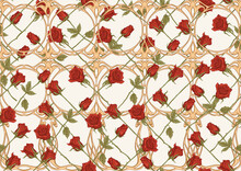 Vintage Roses Seamless Pattern, Background In Art Nouveau Style, Old, Retro Style. Colored Vector Illustration In Warm Colors.