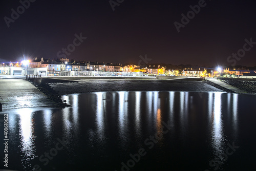 Fotografie, Obraz Beautiful night view of Greystones Harbour Marina with light reflection in the water, Greystones, Co