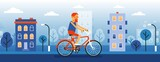 Man cyclist on the cityscape background. Hipster on a bike. Vector cartoon illustration.