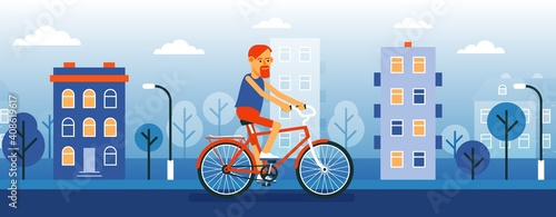 Obraz Man cyclist on the cityscape background. Hipster on a bike. Vector cartoon illustration. - fototapety do salonu