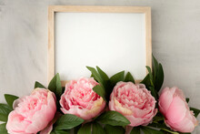 Blank Frame To Write Your Own Text With Pretty Peonies And Green Leaves. Perfect For Love Message