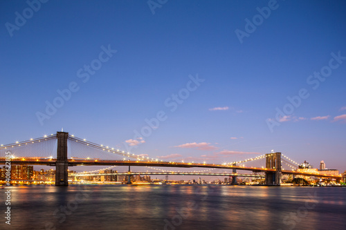 Fototapety, obrazy: New York City NYC Manhattan Downtown with Brooklyn Bridge