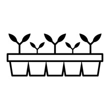 Seedlings In Pots Icon. Planting Seeds. Black Contour Linear Silhouette. Vector Flat Graphic Illustration. The Isolated Object On A White Background. Isolate.