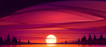 Sunset On Lake, Red Sky With Sun Going Down The Pond Surrounded With Trees. Beautiful Nature Scenic Landscape Background, Evening Heaven View With Shining Sol Above Water. Cartoon Vector Illustration