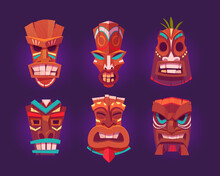 Tiki Masks, Wooden Hawaiian Tribal Totem With God Face. Vector Cartoon Set Of Polynesian Traditional Statues, Ancient Wood Tikki Masks Isolated On Purple Background
