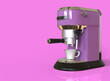 Leinwandbild Motiv A lilac espresso coffee machine on pink background with space for text. 3D render.