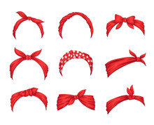 Set Of Retro Headbands For Woman. Collection Of Red Bandanas For Hairstyles. Windy Hair Dressing. Mockups Of Decorative Hair Knotted Vintage Scarves. Cute Hairband Or Headdress Vector Illustration