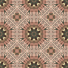 Greek Tribal Ethnic Style Seamless Pattern. Geometric Colorful Background. Vector Repeat Patterned Backdrop. Abstract Ornaments With Borders, Frames, Greek Key, Meanders, Geometric Shapes, Rhombus