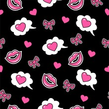 Comic Heart, Kisses, Pink Bows On A Black Background In Cartoon Style. Seamless Pattern For Valentine's Day. Vector Illustration.