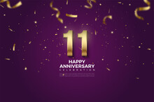 11th Anniversary With Number Illustration Showered With Gold Ribbons.