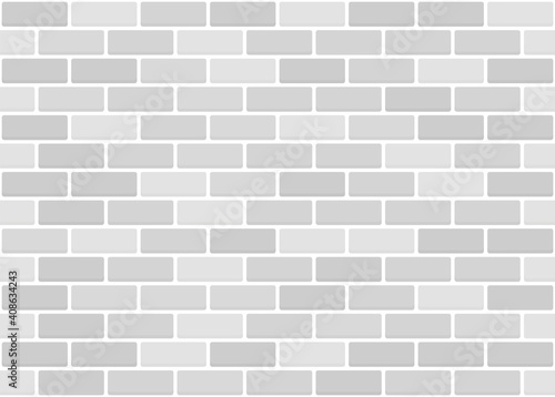 White or grey brick wall seamless texture. Vector pattern. Fototapeta