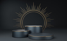 3 Empty Gray Cylinder Podium With Gold Border And Spiked Halo Circle On Black Background. Abstract Minimal Studio 3d Geometric Shape Object. Pedestal Mockup Space For Luxury Display. 3d Rendering.