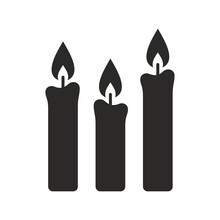 Candles Icon. Candlelight. Vector Icon Isolated On White Background.