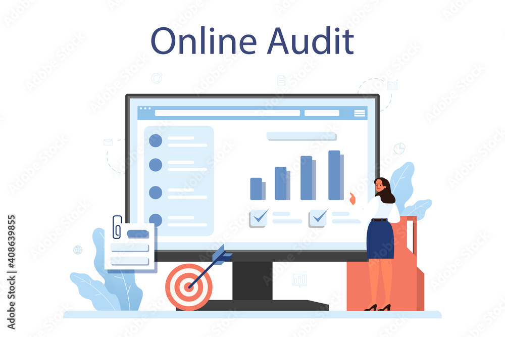 Fototapeta Audit online service or platform. Business operation research and analysis.