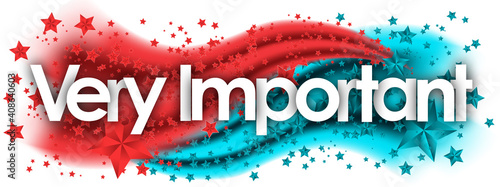Photo Very Important word in stars colored background